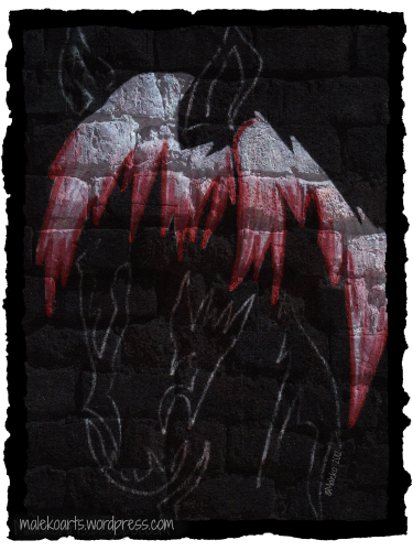 """Horse Graffiti""      ©Maleko 20124x6 inches  ~  Colored Pencils on Black Paper  ~  Border and Background added using PicMonkey"