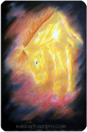 """""""Forged in Fire""""        ©Maleko 201215 x 22 inches  Mixed Media (Watercolors, Pastels & Colored Pencils)"""