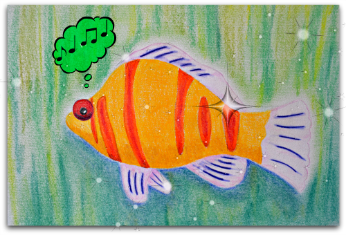 """Fish Music"" Pastels 8x10 inches (edited using PicMonkey) Maleko ©2013"