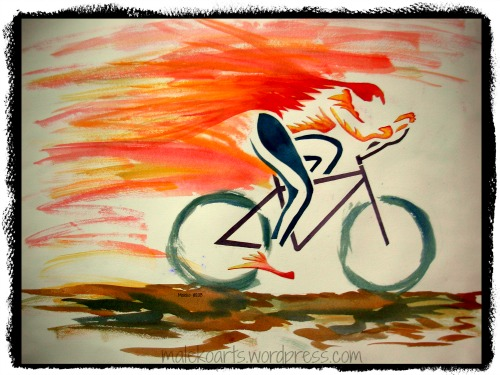"""Cycling Flame"" ©2013  18x24 Watercolors (from the vault)"