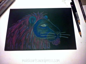 """Purple Mane"" (in progress) Colored Pencils  6x9 inches on black paper"