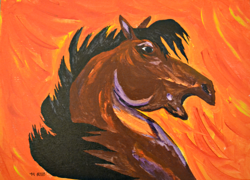 """StarFire""  ~M ©2013    Acrylic 12x9 inches"