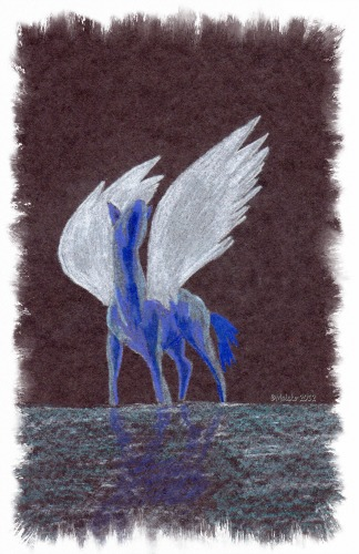 """Silver Wings' Colored pencil on black paper 6x9 inches"