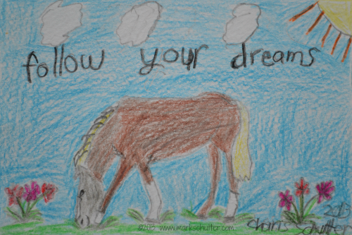 """Follow Your Dreams"" Muppin 2013 Colored Pencils 4x6 inches"