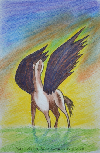 """Give Me Wings""  Mark Schutter ©2013 Colored Pencils and Pastels  4x6 inches"
