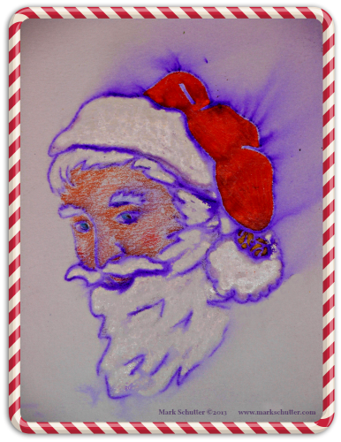 """Dun Che Lao Ren"" is Chinese for ""Christmas Old Man.""   Crayon and ink wash drawing, 8x11 inches, border added using PicMonkey."
