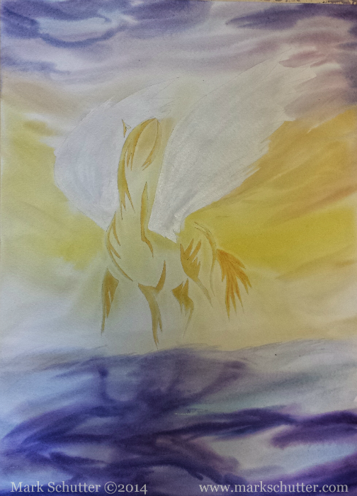 """""""Sunlight Rising""""   Mixed Media - watercolors, acrylics and pastels   18x24 inches  Mark Schutter ©2014"""