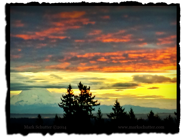 Photo of Mt Rainier in the distance at a winter sunrise.