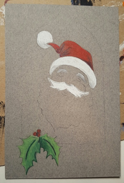 Santa - postcard work in progress, pastels on grey paper, 4x6 inches